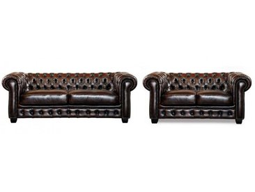 Canapé chesterfield 3+2 places BRENTON 100% cuir de buffle - Chocolat reflets châtains