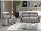 Canapé 3+1 places relax électrique PAOSA en cuir - Gris passepoil anthracite