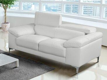 Canapé 2 places en cuir SOLANGE - Blanc