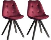 Lot de 2 chaises scandinaves ANEYA - Velours & Pieds Hévéa - Bordeaux