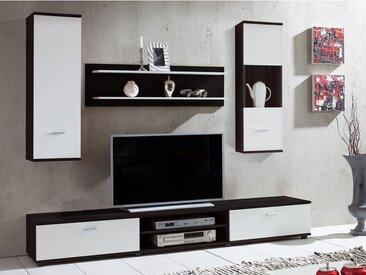 Mur TV JEREMIAH avec rangements - Coloris: Noir & Blanc