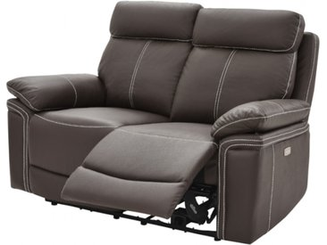 Canapé 2 places relax électrique en cuir ISIRIS - Marron