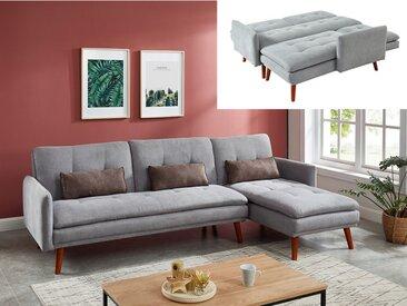 Canapé d'angle convertible et réversible en tissu HAILIE - Gris clair