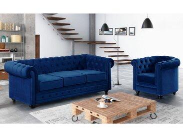 Canapé 3 places et fauteuil CHESTERFIELD - Velours bleu roi