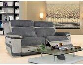 Canapé 3 places relax en microfibre TALCA - Anthracite et gris clair