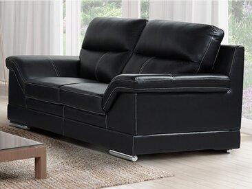 Canapé 2 places en cuir de buffle MONIKA - Noir