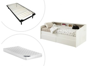 Lit avec tiroirs et étagères PAULETTE - 90 x 200 cm - blanc + matelas + sommier