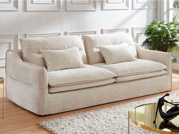 Canapé 3 places ADILA en lin et coton - Blanc