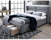 Lit ALESSANDRO tête de lit avec oreillettes - Avec tiroirs - 160x200cm - Tissu Gris