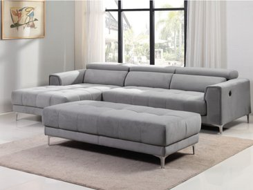 Canapé d'angle relax électrique double assise coulissante et pouf en tissu - LITENI - Gris clair - angle gauche