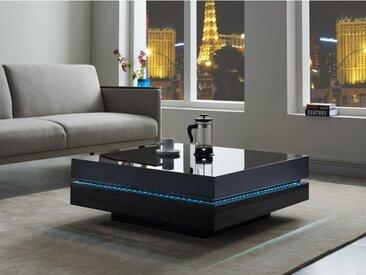 Table basse LYESS - MDF laqué noir - LEDs