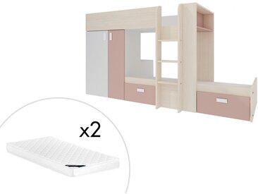 Lits superposés JULIEN - 2x90x190cm - Armoire intégrée - Blanc et rose poudré + matelas