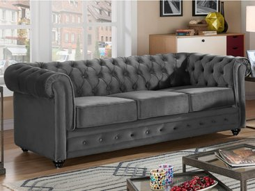 Canapé 3 places CHESTERFIELD - Velours anthracite