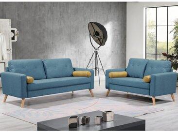 Canapé 3+2 places TATUM en tissu - Bleu