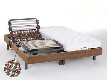 Lit électrique relaxation lattes et plots matelas latex PANDORA II de DREAMEA - moteurs OKIN - chêne naturel - 2x80x200cm