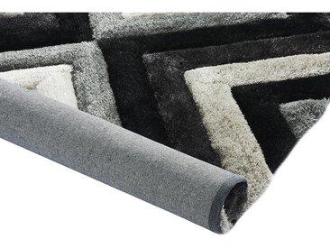 Tapis shaggy effet 3D SABLIER - polyester - Gris noir et blanc - 160*230cm