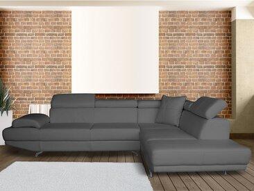 Canapé d'angle XL en simili ROMAIN - Taupe - Angle droit
