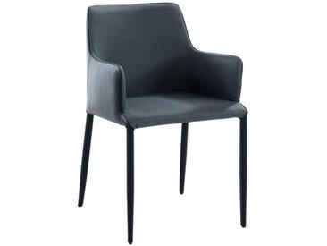 Chaise avec accoudoirs MASAKO - Simili & Tissu - Noir & Anthracite