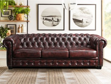 Canapé chesterfield 4 places BRENTON 100% cuir de buffle - Cherry