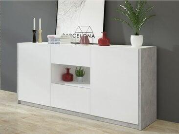 Buffet PARKER - 2 portes & 2 tiroirs - Coloris : Blanc & Béton