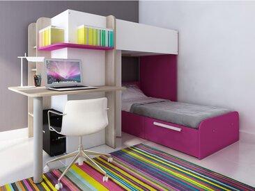 Lits superposés SAMUEL - 2x90x190cm - Bureau intégré - Pin blanc et rose