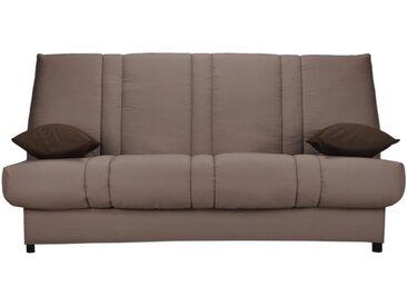 Canapé clic clac en tissu FARWEST avec coffre de rangement - Taupe coussins contrastés