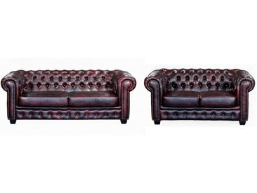Canapé chesterfield 3+2 places BRENTON 100% cuir de buffle - Cherry