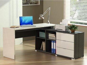 Bureau d'angle PIVOLA avec rangements - 3 tiroirs - Blanc & Gris