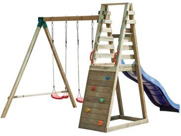 Aire de jeux en bois avec toboggan, 2 balançoires et mur d'escalade KINABALU - L245xP300xH235 cm