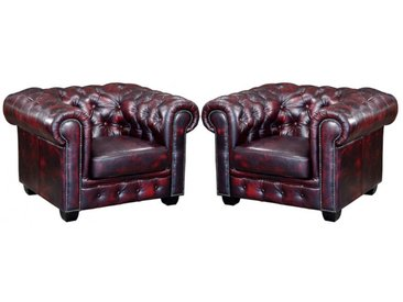 Lot de 2 fauteuils chesterfield BRENTON 100% cuir de buffle - Cherry
