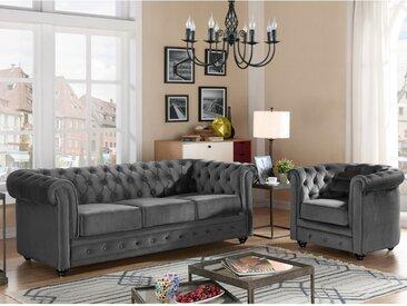 Canapé 3 places et fauteuil CHESTERFIELD - Velours anthracite