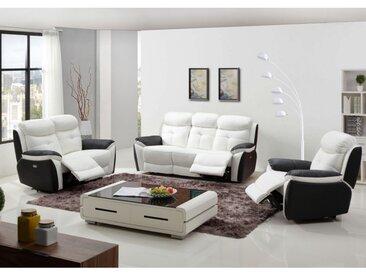 Canapé 3+2+1 places relax électrique en cuir LUGO - Bicolore noir et blanc