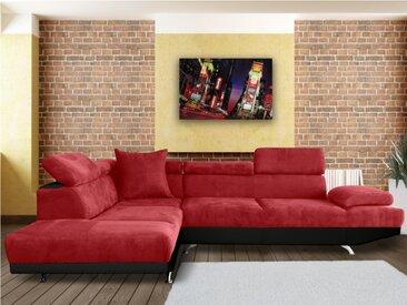 Canapé d'angle XL en tissu et simili ROMAIN - Rouge/noir - Angle gauche
