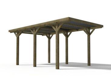 Carport ARES en bois traité classe III - surface 15.5 m² - Toit en PVC