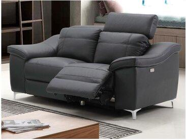 Canapé 2 places relax électrique CAROLE en cuir - Noir