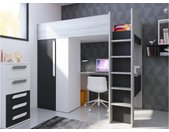 Lit mezzanine NICOLAS - 90 x 200 cm - avec armoire et bureau - Anthracite et blanc