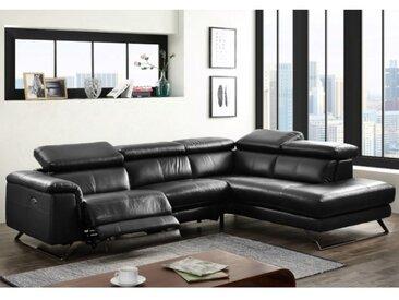 Canapé d'angle relax électrique en cuir avec têtières BREYT - Noir - Angle droit