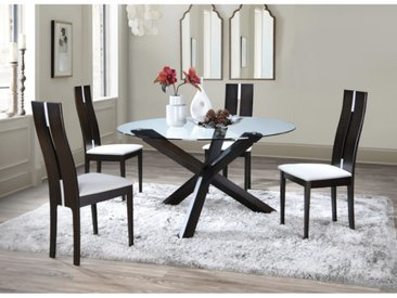 Ensemble table CENTAURI + 4 chaises SALENA - Hêtre - Wengé