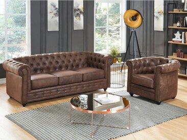 Canapé 3 places et fauteuil CHESTERFIELD en microfibre aspect cuir vieilli