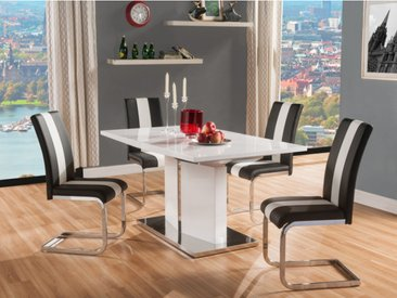 Ensemble table + 4 chaises TRINITY - Blanc & Noir