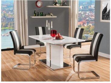Ensemble table + 4 chaises TRINITY - Blanc & Noir