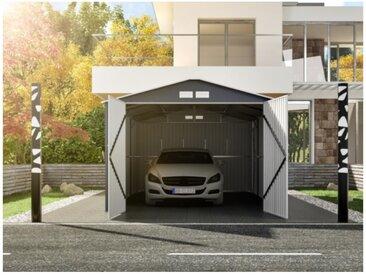 Garage en acier galvanisé NERON gris - 18,7 m²