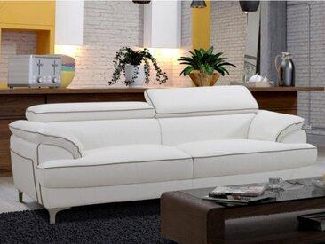 Canapé 3 places en simili VOLTAIRE - Blanc passepoil gris