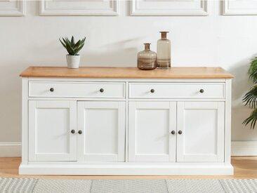 Buffet HONFLEUR - 4 portes & 2 tiroirs - Pin blanc