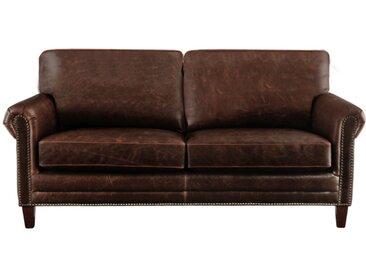 Canapé 2 places en cuir vieilli CASSANDRA - Marron