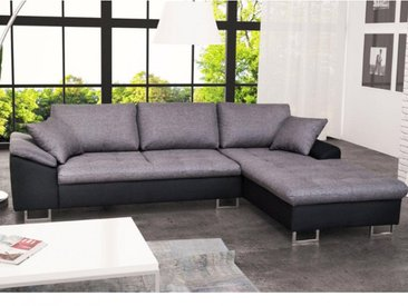 Canapé d'angle en tissu ALLEGRI II - Bicolore noir/gris - Angle droit