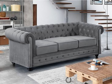 Canapé 3 places CHESTERFIELD - Velours gris clair