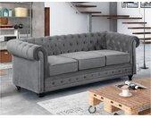 Canapé 3 places CHESTERFIELD - Velours gris clair
