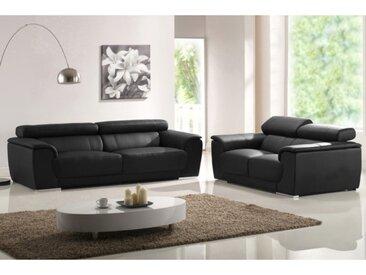 Canapé 2 places en cuir KALINA II - Noir