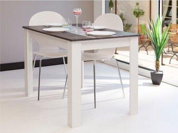 Table à manger CASSY II - 4 couverts - Blanc, plateau effet béton